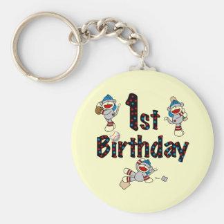 1st Sock Monkey Baseball Birthday Basic Round Button Key Ring