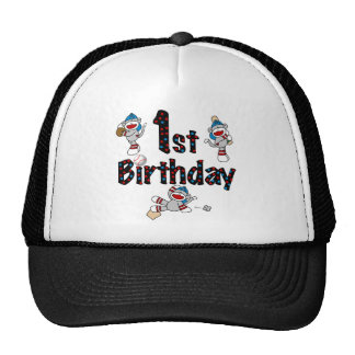 1st Sock Monkey Baseball Birthday Cap