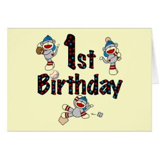 1st Sock Monkey Baseball Birthday Greeting Card