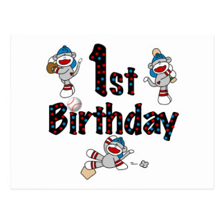 1st Sock Monkey Baseball Birthday Postcard