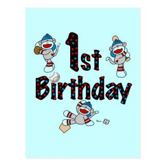1st Sock Monkey Baseball Birthday Postcard