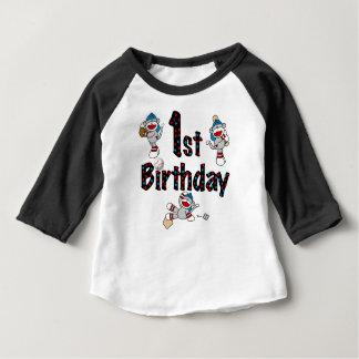 1st Sock Monkey Baseball Birthday Tee Shirt