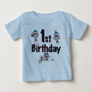 1st Sock Monkey Baseball Birthday Tee Shirt