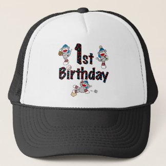 1st Sock Monkey Baseball Birthday Trucker Hat