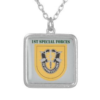 1st Special Forces Group With Text Square Pendant Necklace