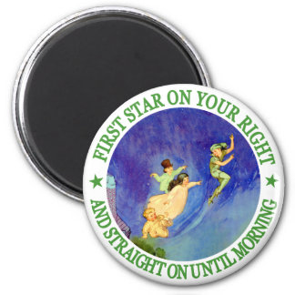 1ST STAR ON YOUR RIGHT, STRAIGHT ON UNTIL MORNING 6 CM ROUND MAGNET