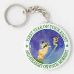 1ST STAR ON YOUR RIGHT, STRAIGHT ON UNTIL MORNING BASIC ROUND BUTTON KEY RING