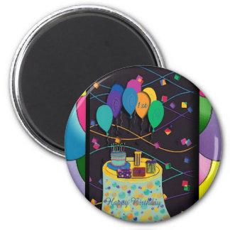 1st surprisepartyyinvitationballoons copy 6 cm round magnet