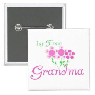 1st  Time Grandma-Pink Flowers 15 Cm Square Badge