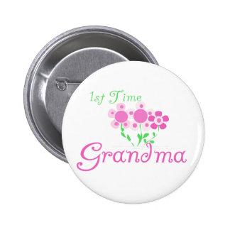 1st  Time Grandma-Pink Flowers 6 Cm Round Badge