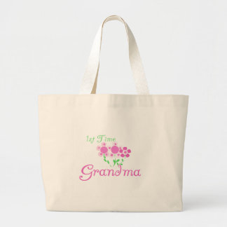 1st  Time Grandma-Pink Flowers Large Tote Bag