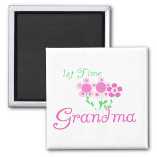 1st Time Grandma-Pink Flowers Refrigerator Magnets