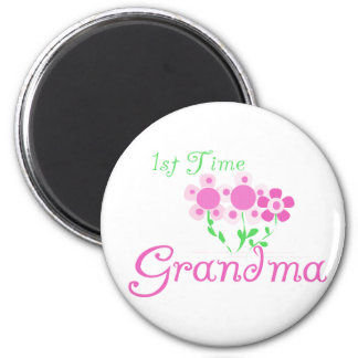 1st Time Grandma-Pink Flowers Refrigerator Magnet