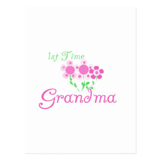 1st Time Grandma-Pink Flowers Post Card