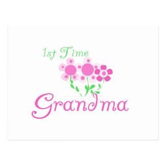 1st Time Grandma-Pink Flowers Post Cards