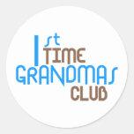 1st Time Grandmas Club (Blue) Round Stickers