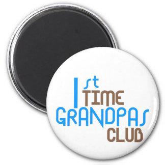 1st Time Grandpas Club (Blue) 6 Cm Round Magnet
