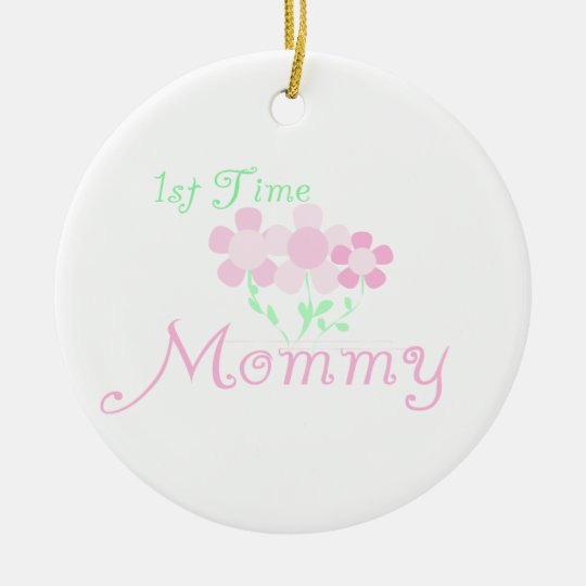 1st Time Mummy Pink Flowers Gifts Christmas Ornament