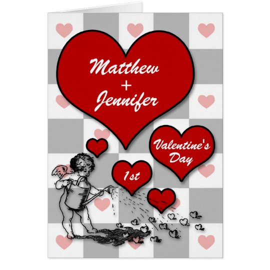 1st Valentine's Day Cupid Custom Heart Card