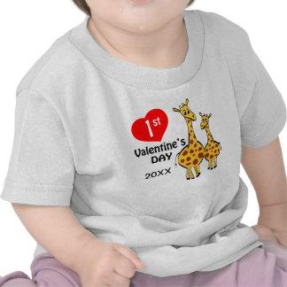 1st Valentines Day Giraffe Theme Tshirts