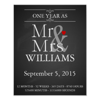 1st wedding anniversary Modern print with dates