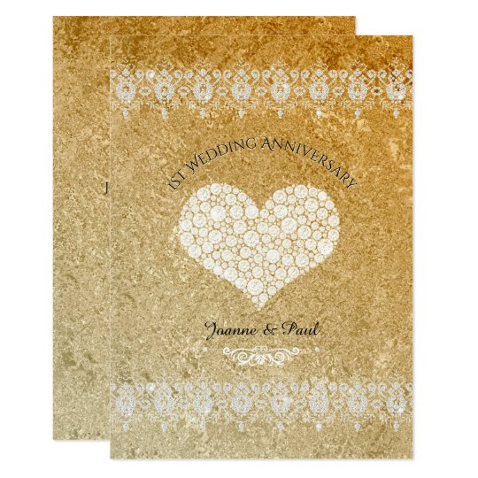 1st Wedding Anniversary Party Gold Diamonds Card