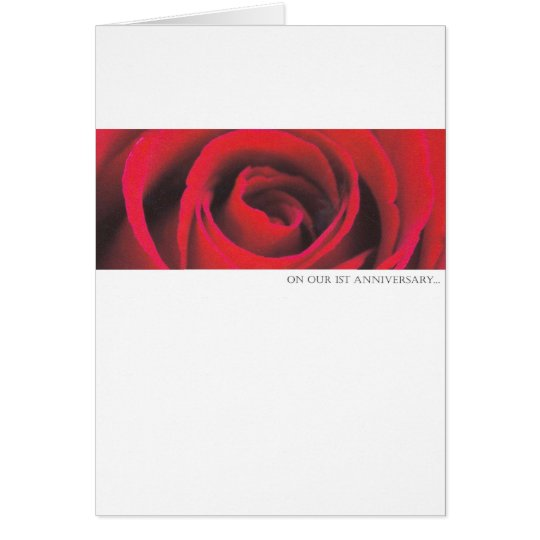 1st wedding Anniversary rose greeting card