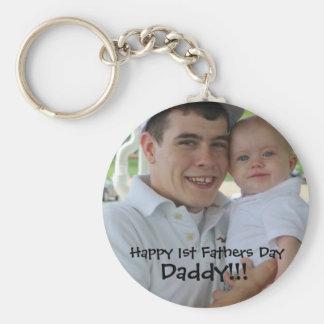 1stfathersday, Happy 1st Fathers Day, Daddy!!! Basic Round Button Key Ring