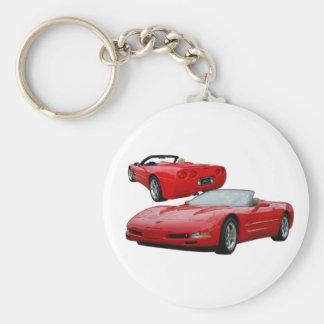 2002 red vert basic round button key ring