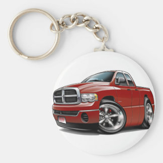 2003-08 Ram Quad Maroon Truck Basic Round Button Key Ring