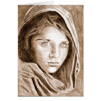 2004 Pencil Drawing Afghan Refugee Girl sepia Card