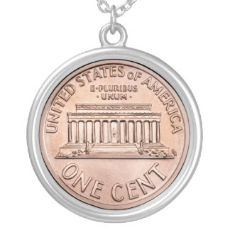 2005 Lincoln Memorial 1 cent copper coin money Silver Plated Necklace