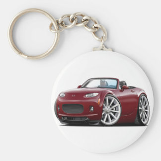 2006-08 Miata Maroon Car Basic Round Button Key Ring