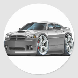 2006-10 Charger SRT8 Grey Car Classic Round Sticker