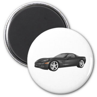 2008 Corvette: Sports Car: Black Finish 6 Cm Round Magnet
