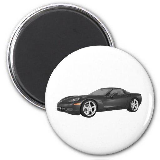 2008 Corvette: Sports Car: Black Finish Magnets