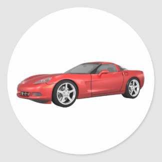 2008 Corvette: Sports Car: Red Finish: Classic Round Sticker