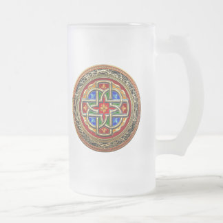 [200] Celtic Cross [Gold+Enamel] 16 Oz Frosted Glass Beer Mug