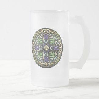 [200] Celtic Cross [Gold with Black Enamel] Frosted Glass Beer Mug