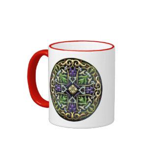 [200] Celtic Cross [Gold with Black Enamel] Ringer Mug