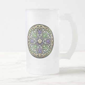 [200] Celtic Cross [Gold with Black Enamel] 16 Oz Frosted Glass Beer Mug
