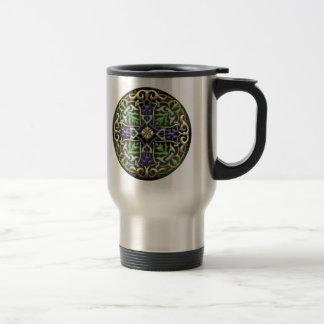 [200] Celtic Cross [Gold with Black Enamel] Stainless Steel Travel Mug