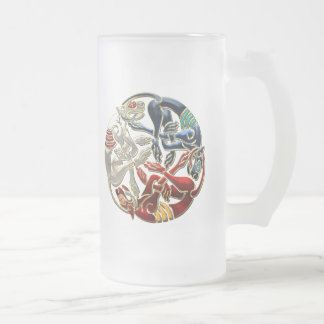 [200] Celtic Sacred Art - Three Dogs Frosted Glass Beer Mug