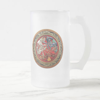 [200] Celtic Treasures - Three Dogs on Gold Frosted Glass Beer Mug