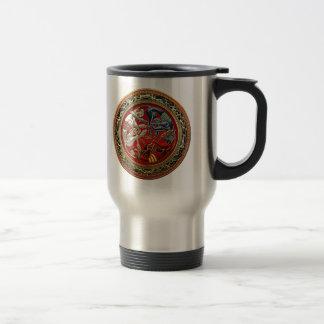 [200] Celtic Treasures - Three Dogs on Gold Travel Mug
