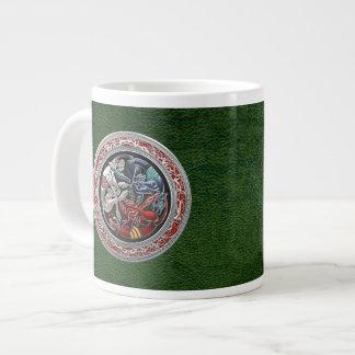 [200] Celtic Treasures - Three Dogs on Silver Giant Coffee Mug