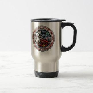 [200] Celtic Treasures - Three Dogs on Silver Stainless Steel Travel Mug