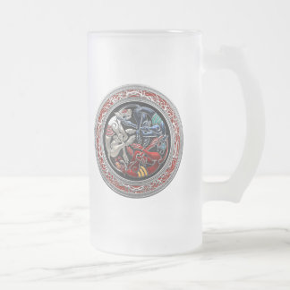 [200] Celtic Treasures - Three Dogs on Silver Glass Beer Mugs