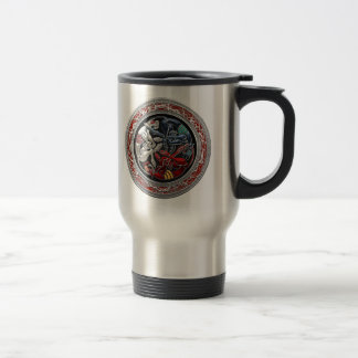 [200] Celtic Treasures - Three Dogs on Silver Travel Mug