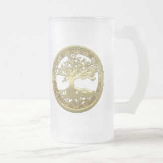 [200] Celtic Tree of Life [Gold] Frosted Glass Mug